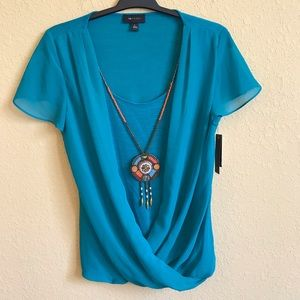 AB Studio Blue Top With Necklace